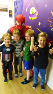 Birthday boys meet Spidey